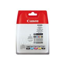 Canon PGI-580 PGBK/CLI-581 CMYBK Multipack - pack de 5 - noir, jaune, cyan, magenta - originale - réservoir d'encre
