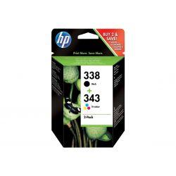 HP 338/343 - noir, couleur (cyan, magenta, jaune) - originale - cartouche d'encre