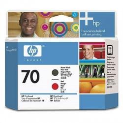 HP Tête d'impression mate noire et rouge 70