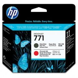 HP Tête d'impression noire à finition mate/rouge chromatique