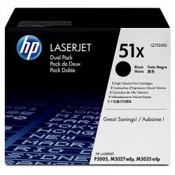 HP Q7551XD Lot de 2 cartouches de toner LaserJet 51X Noir 13000 pages
