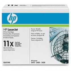 HP Q6511XD Lot de 2 cartouches de toner Haute capacité LaserJet 11X Noir 12000 pages