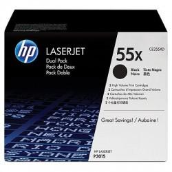 HP CE255XD Lot de 2 Cartouches de toner Haute capacité LaserJet 55X Noir12500 pages
