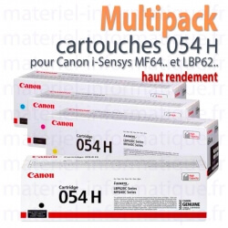 Multipack toners 4 couleurs 054 H (haut rendement) pour Canon MF645, MF643, MF641, LBP621, LBP623