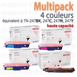 Multipack toners 4 couleurs hautes capacités Xerox Eq. TN-247 pour Brother HL-L32xx, DCP-L35xx, MFC-L37xx.