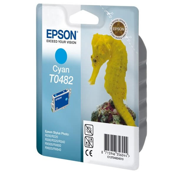 Consommable Epson T0482 'Hippocampe' - Cartouche d'encre Cyan 430 pages