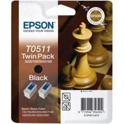 """Epson T0511 Double pack """"Echiquier"""" Cartouche noir 900 pages"""