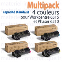 Multipack 4 couleurs capacité standard Xerox pour WorkCentre 6515 et Phaser 6510 toner d'origine