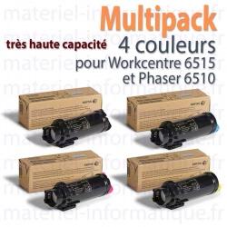 Multipack 4 couleurs grande capacité Xerox pour Workcentre 6515 et Phaser 6510 toner d'origine