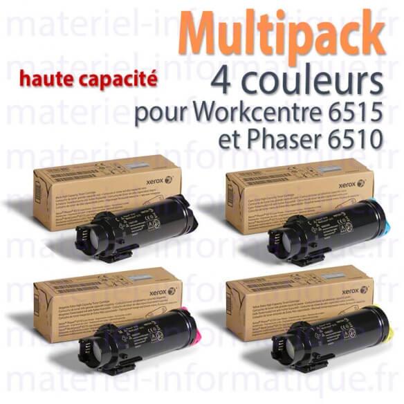 Xerox Multipack 4 couleurs haute capacité pour Workcentre 6515 et Phaser 6510