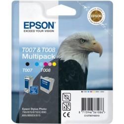 """Epson T007 Double pack """"Aigle"""" et """"Perroquet"""" Cartouche d'encre noir"""