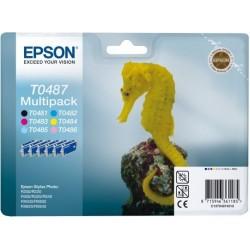 """Epson T0487 Multipack """"Hippocampe"""" Cartouche d'encre noir/cyan"""