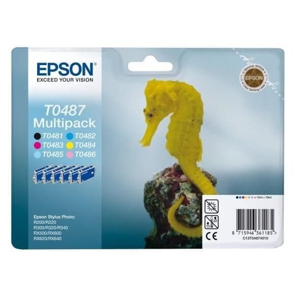 Consommable Epson T0487 Multipack 'Hippocampe' Cartouche d'encre noir/cyan