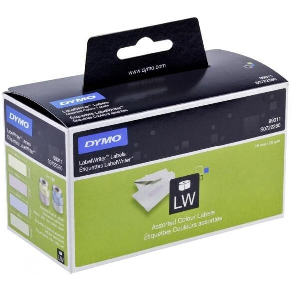 DYMO 99011 Rouleau d'étiquettes adhésives prédécoupées de couleur 28x89mm 4x130 étiquettes