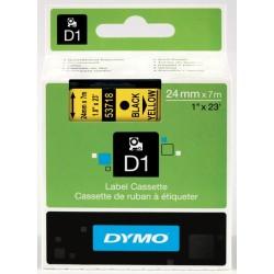 DYMO 53718 Ruban D1 Standard Noir sur Jaune 24mm x 7m