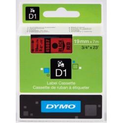 DYMO 45807 Ruban D1 Standard Noir sur Rouge 19mm x 7m