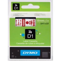 DYMO 45805 Ruban D1 Standard Rouge sur Blanc 19mm x 7m