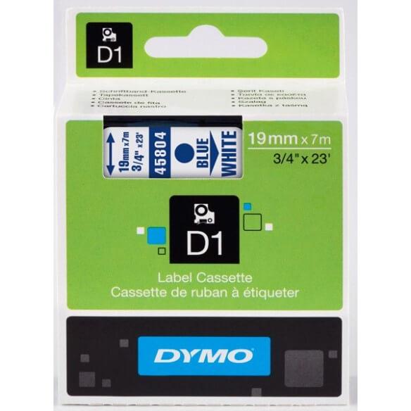 DYMO 45804 Ruban D1 Standard Bleu sur Blanc 19mm x 7m