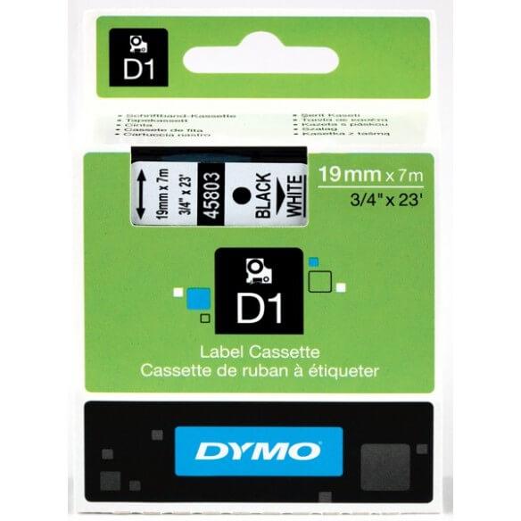 DYMO 45803 Ruban D1 Standard Noir sur Blanc 19mm x 7m