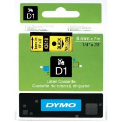DYMO 43618 Ruban D1 Standard Noir sur Jaune 6mm x 7m