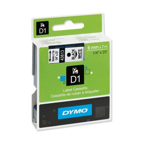 DYMO 43613 Ruban D1 Standard Noir sur Blanc 6mm x 7m