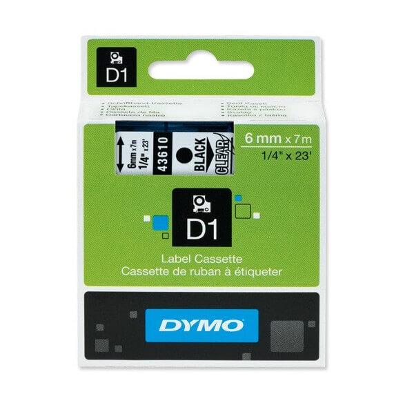 DYMO 43610 Ruban D1 Standard Noir sur Transparent 6mm x 7m