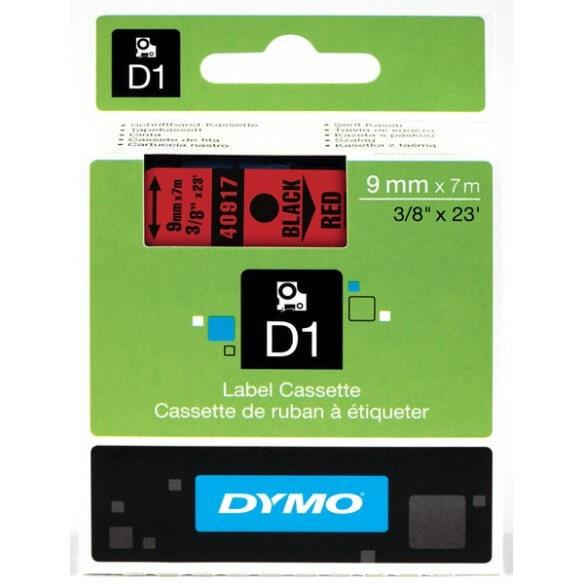 DYMO 40917 Ruban D1 Standard Noir sur Rouge 9mmx7m