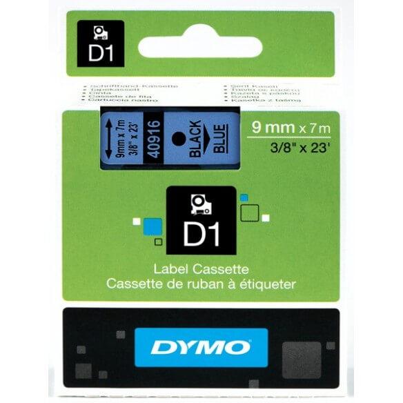 DYMO 40916 Ruban D1 Standard Noir sur Bleu 9mmx7m