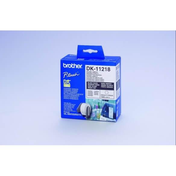 Brother DK-11218 Rouleau d'étiquettes adhésives prédécoupées papier 24 mm (photo)