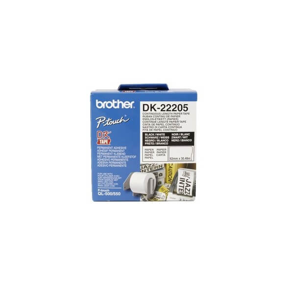 Brother DK22205 Rouleau de 30m continu support papier adhésif 62mm Brother (photo)