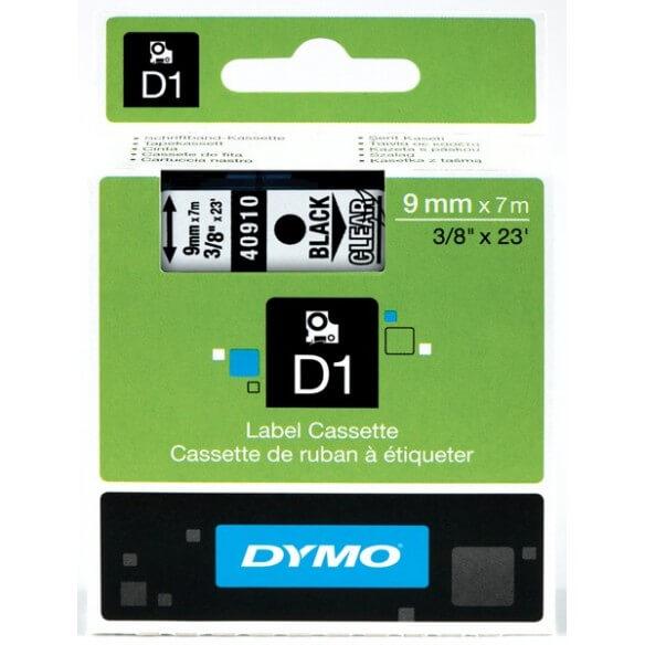 DYMO 40910 Ruban D1 Standard Noir sur Transparent 9mm x 7m (photo)