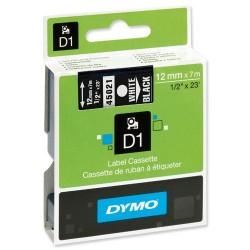 DYMO 45021 Ruban D1 Standard Blanc sur Noir 12mm x 7m