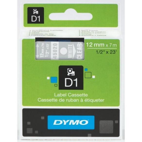 DYMO 45020 Ruban D1 Standard 12mmx7m Blanc sur Transparent