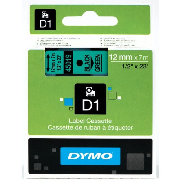 DYMO 45019 Ruban D1 Standard 12mm x 7m Noir sur Vert