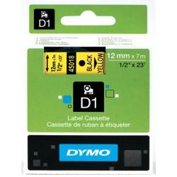 DYMO 45018 Ruban D1 Standard 12mm x 7m Noir sur Jaune