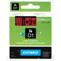 DYMO 45017 Ruban D1 Standard 12mm x 7m Noir sur Rouge