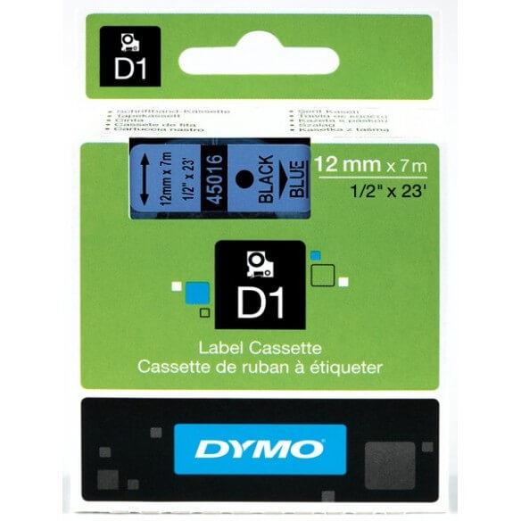 DYMO 45016 Ruban D1 Standard 12mm x 7m Noir sur Bleu