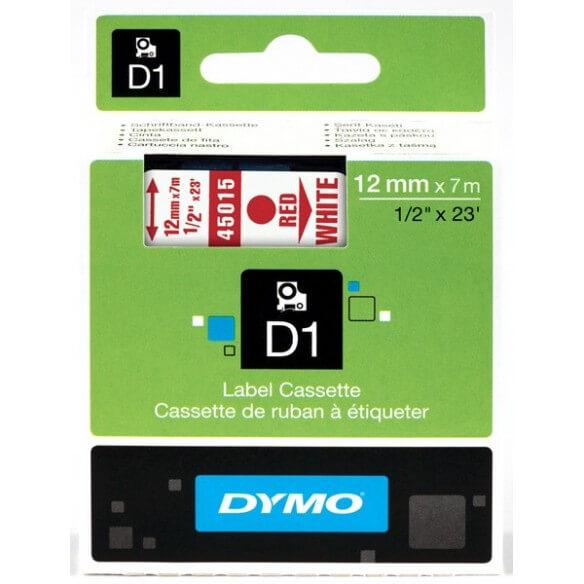 DYMO 45015 Ruban D1 Standard 12mm x 7m Rouge sur Blanc