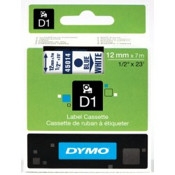 DYMO 45014 Ruban D1 Standard 12mm x 7m Bleu sur Blanc