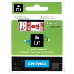DYMO 45012 Ruban D1 Standard 12mm x 7m Rouge sur Transparent