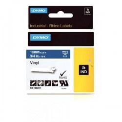 DYMO 1805417 Rhino Bande Vinyle Adhésive Permanente Blanc sur Bleu 19mm x 5.5m