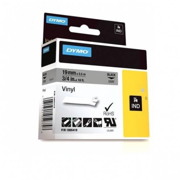 DYMO 1805419 Rhino Bande Vinyle Adhésive Permanente Noir sur Gris 19mm x 5.5m (photo)