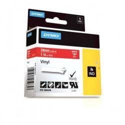 DYMO 1805429 Rhino Bande Vinyle Adhésive Permanente Blanc sur Rouge 24mm x 5.5m