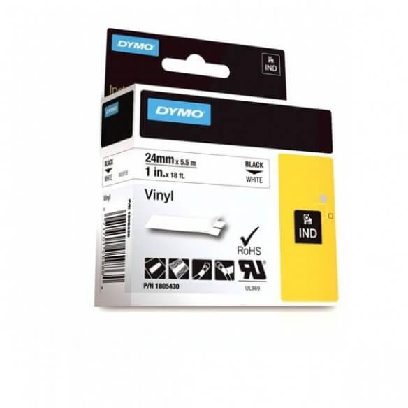 DYMO 1805430 Rhino Bande Vinyle Adhésive Permanente Noir sur Blanc 24mm x 5.5m (photo)