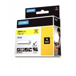 DYMO 1805431 Rhino Bande Vinyle Adhésive Permanente Noir sur Jaune 24mm x 5.5m