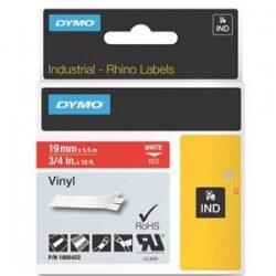 DYMO 1805422 Rhino Ruban Vinyl Coloré Blanc sur Rouge 19mm x 5.5m