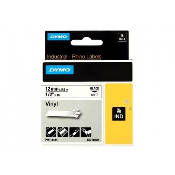 DYMO 18444 Rhino Ruban Vinyl Coloré Blanc sur Noir 12mm x 5.5m (photo)