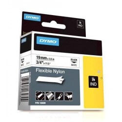 DYMO 18489 Rhino Ruban Nylon Flexible Noir sur Blanc 19mm x 3.5m