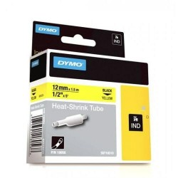 DYMO 18056 Rhino Gaine Thermo-rétractables Noir sur Jaune 12mm x 1.5m