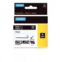 DYMO 1805437 Rhino Bande Vinyle Adhésive Permanente Blanc sur Noire 9mm x 5.5m
